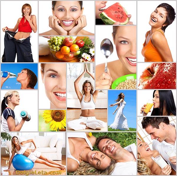Мозаика из фотографий о здоровом образе жизни