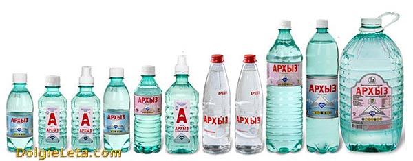 Ассортимент минеральной воды Архыз