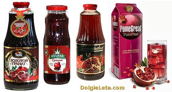 Ассортимент выбора гранатового сока в бутылках в магазине