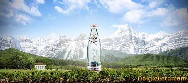 Бутылка воды на фоне гор.