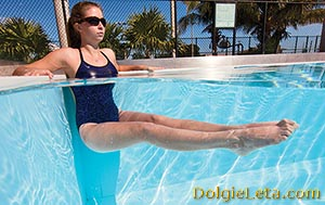 Девушка выполняет в бассейне эффективные упражнения для похудения