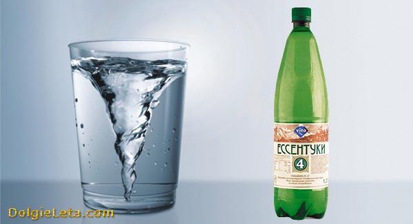 Состав воды Ессентуки 4 - бутылка и бокал