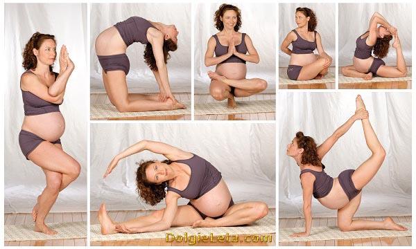 Женщина выполняет стрейчинг тренировку при беременности.