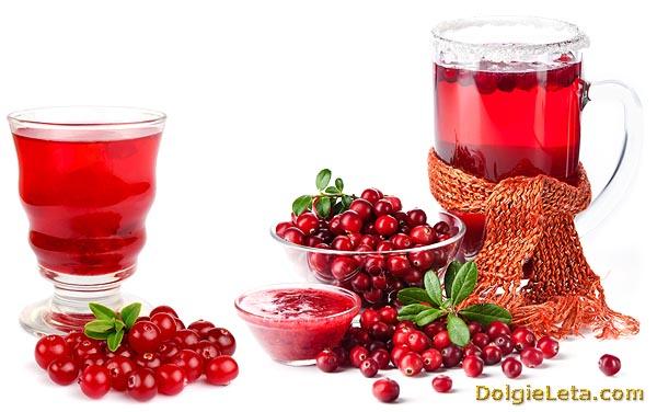 В креманке варенье, джем из ягоды клюквы и в кувшине налит клюквенный сок и морс.
