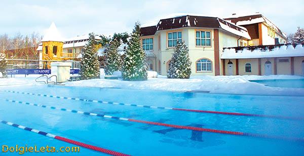 Vitasport - открытый бассейн зимой.