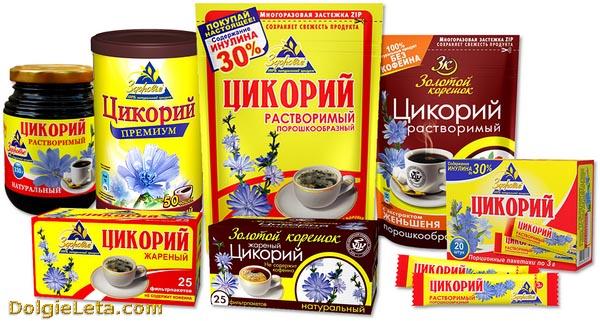 Ассортимент цикория в различных упаковках.