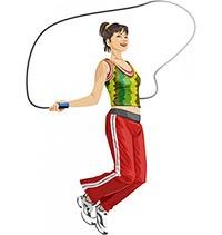 На рисунке девушка выполняет упражнения со скакалкой  для похудения.