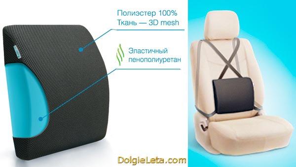 На фото ортопедическая подушка для  водителей с креплением на автомобильное кресло Trelax Autoback/