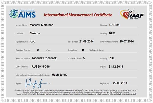 Международный сертификат трассы в Москве до 31.12.2018 года