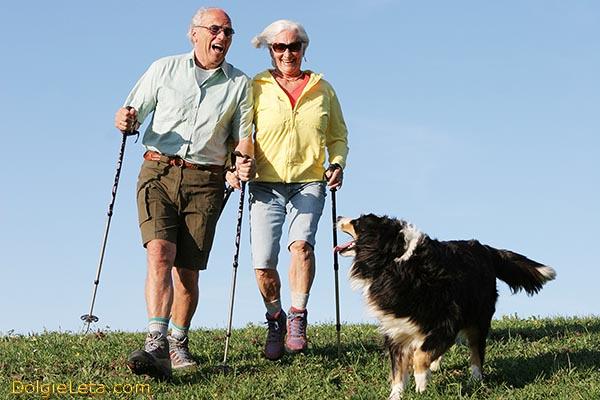 Польза финской скандинавской ходьбы с палками для пожилых людей. На фото семейная пара в преклонном возрасте.
