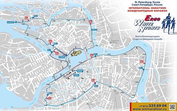 Трасса дистанции международного марафона Белые ночи 2015 на карте Санкт-Петербурга