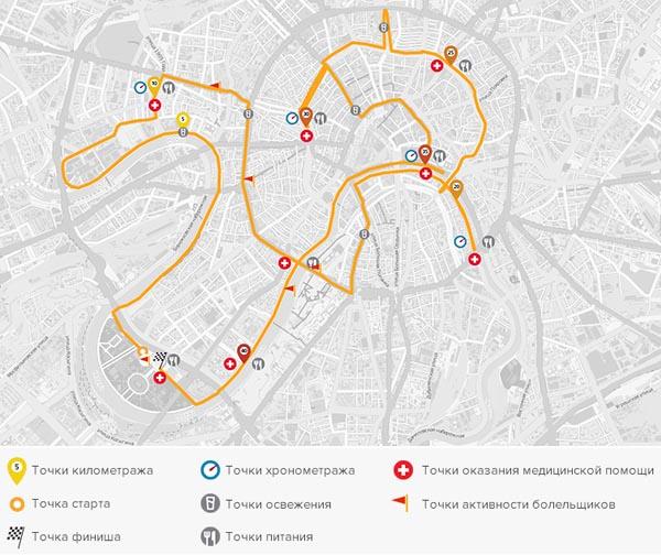 Трасса Московского марафона 2015 - протяженностью 42 км