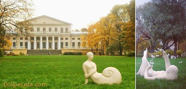 Выставка глиняных скульптур  Веры Виглиной  в Юсуповском саду СПб.