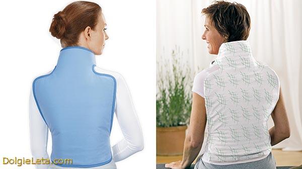 Электрогрелки для спины на девушке и на женщине.