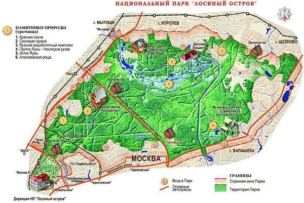 """Карта схема ФГБУ """"Национальный парк """"Лосиный остров"""""""