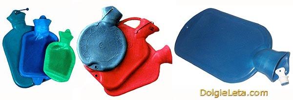 Резиновые грелки различных цветов и формы