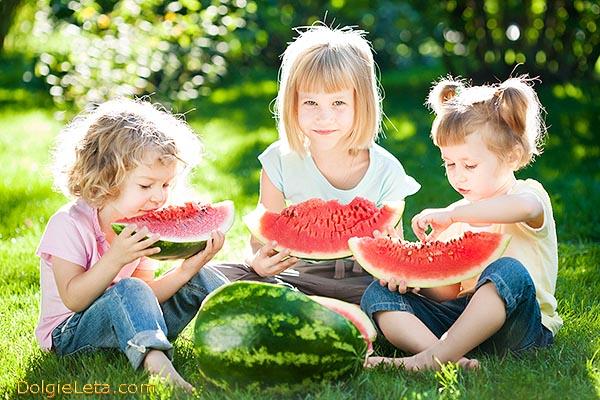 Детишки на природе в парке едят вкусный и сладкий арбуз.