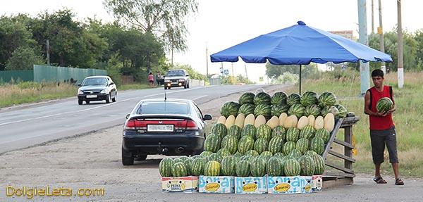 Продажа арбузов на улицах, перекрестках, трассах