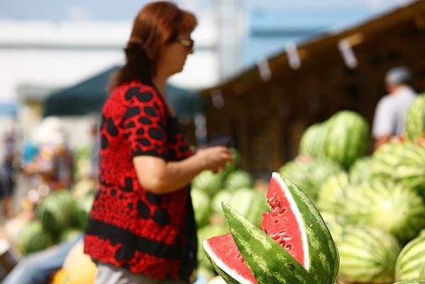На фотографии женщина выбирает спелый арбуз на рынке.