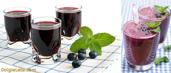 Напитки из ягоды голубики: кисель, компот, сок.