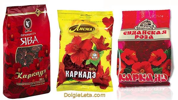 Чай каркадэ расфасован в производственные упаковки для продажи в магазинах.
