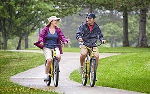 На велосипедных прогулках девушка и парень катаются на велосипедах в парке по дорожкам.
