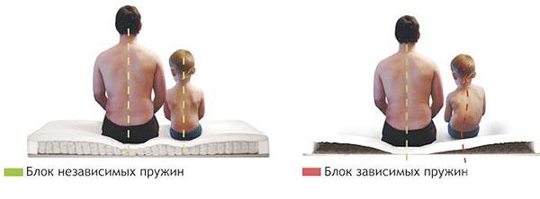 Как правильно подобрать ортопедический матрас для кровати - независимые и зависимые пружины.
