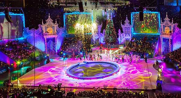 Цирк - новогоднее представление с Дедом Морозом на зимних каникулах.