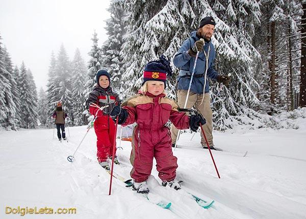 Польза лыжных прогулок - семья катается на лыжах на природе.