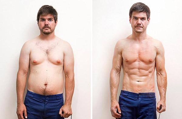 Фотография до и после похудения